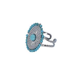 Δαχτυλίδι από ατσάλι με σχέδιο αστέρι διακοσμημένο με τυρκουάζ πέτρες. Δεν μαυρίζει και δεν προκαλεί αλλεργίες. Το δαχτυλίδι είναι ανοιχτό στο κάτω μέρος και προσαρμόζεται στο μέγεθος του δαχτύλου σας.