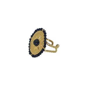 Δαχτυλίδι από ατσάλι με σχέδιο αστέρι διακοσμημένο με μαύρες πέτρες. Δεν μαυρίζει και δεν προκαλεί αλλεργίες. Το δαχτυλίδι είναι ανοιχτό στο κάτω μέρος και προσαρμόζεται στο μέγεθος του δαχτύλου σας.